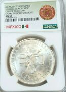 1968 Mexico S25p Olympics Center Ring Low Snake Tongue Straight Ngc Ms 63