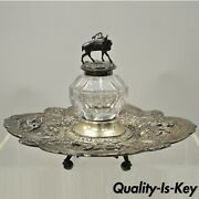 English Victorian Silver Plated Platter Tray Stag Mounted Glass Inkwell Gorham