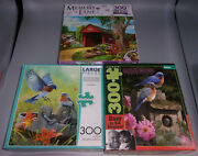 Lot Of 3 Buffalo Games And Master Pieces 300 Large Piece Puzzles- Bluebird Country