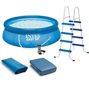 Intex 15ft X 48in Easy Set Pool Set With Filter Pump Ladder Ground Cloth And Poo