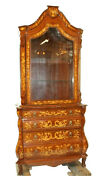 Bookcase Or Cupboard Italian Inlaid Vintage / Antique Bombe Base Gorgeous