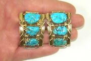 Alice Quam Zuni Sterling Silver 14k Gold Carved Turquoise Nugget Watch Tips