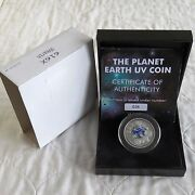 Cook Islands 2014 Planet Earth Uv Silver Plated Proof 1 Coin- Boxed/coa