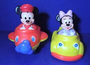Disney Mickey Mouse And Minnie Weebles With Car And Plane