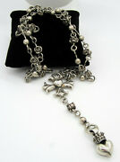 King Queen Baby Maltese Cross Heart Crowned Rose Sterling Silver Rosary Necklace