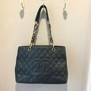 Grand Shopping Tote Gst Black Cavier Gold Hardware W/ Dustbag And Auth Card