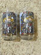1981 Mcdonalds Miss Piggy The Great Muppet Caper Collector Glass Cup Lot Of 2