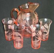 Rare Cambridge Glass Pink Larosa 1930and039s Tulip Etched Water Pitcher And 4 Tumblers