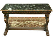 Antique Table, Coffee, Renaissance Style Figured Carved Marble-top, Gorgeous