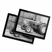 2x Glass Placemats 20x25cm Bw - Vintage Tractor Farming Agriculture 43436