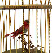 Antique Automaton Bird In Cage French Circa 1920 Gilt Brass Cage Charming