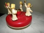 4024 Vntg Hard Plastic Angel Merry Go Round Candle Holder W Germany Ges.gesch