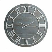 Wall Clock 36 3and039 Large Roman Numerals Metal Wooden Blue Shabby Chic Farmhouse