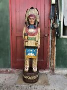 John Gallagher Carved Wooden Cigar Store Indian 6 Ft.tall Statue White Buffalo