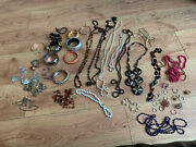 Large Joblot Costume Jewellery Some Vintage Retro Necklaces Rings Bangles Ect