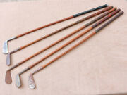 Vintage Old Unusual Wood Shaft Antique Golf Club Lot Mixed Various Types Lot3