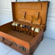 Beautiful Antique Leather Suitcase With Hallmarked Silver Toilet Jars And Brushes