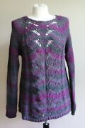 Lolaand039s L Purple Ombre Eyelet Cable Knit Wool Acrylic Sweater Italy Parfum De