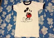 Vtg Walt Disney Productions 1980's Mickey Mouse Ringer T-shirt S Small Soft Tee