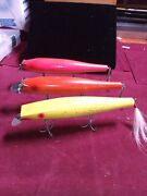 3 Pc Vintage Big 11 Wooden Lures From Long Islandand039s For Fishing Or Displaying
