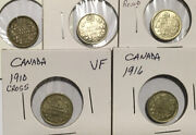 5 Canada 5c Silvers 1902, 1905, 1909 Bowtie Round, 1910 Cross And 1916 Vf