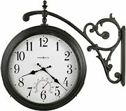 Nice Wall Clock 19.5 Metal 2 Sided Indoor Outdoor Thermometer Black Industrial