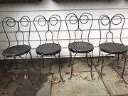 4 Antique Ice Cream Parlor Chairs Twisted Iron Backs Wood Seats