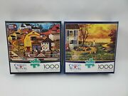 Charles Wysocki 1000 Piece Puzzles Lot Of 2 The Bostonian Pete's Gambling Hall
