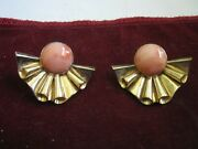 14k Yellow Gold 1 1/2 Scrollwork Ribbons Earrings W/ Angel Skin Coral Cabochons