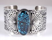 Navajo Sterling Silver Turquoise Bracelet Rare Webbed Hubei By Sunshine Reeves