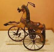Antique Child's Horse Tricycle Wood And Wrought Iron