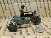Antique Hubley Cast Iron Cop Motorcycle W/ Sidecar 4