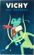 Original Vintage Poster Vichy France Golf And Tennis 1948 Colin