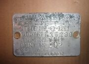 Cowl Body Tag 1941 Chevrolet Master Deluxe Two Door - 41 Chevy 2 Dr