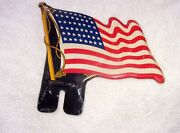 Vintage American Flag License Plate Topper - Harley Indian Chevy Ford Usa