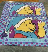 Vintage Lot Of 2 Disney Winnie The Pooh Flannel Double Sided Pillowcases