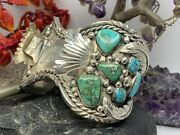 Vintage Navajo Huge Milticolor Turquise Watch Bracelet With Bear And Wreath Engr