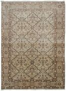 Rare Traditional Oriental Rug Vase Handmade Area Rug Fine Rug Ivory 4and039x6and039