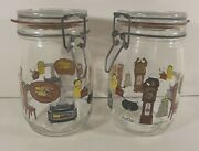 Glass Canning Jars, Swing Top, 2 Ea. 1 Liter, Wire Made In France Vintage Euc