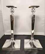 Antique Pair Of Sterling Silver Etched Candle Holders 10 X 4.25