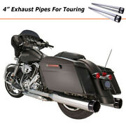 4 Chrome Slip On Mufflers For Harley Touring Road King Exhaust Pipes 1995-2016