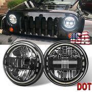 Black Pair 7 Round Led Headlights High/low Beam Drl For Jeep Wrangler Hummer H2