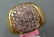 Estate Wide .67ct Pink Diamond 18kt Yellow Gold 3d Pave Round Mens Pinky Ring