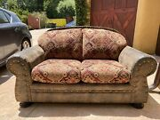 Antique Couch Sofa, Leather And Fabric Sofa, Comfy/ Deep Seating, Good Condition