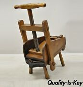 Antique 19th C Handmade Solid Wood French Wooden Grape Wine Olive Press