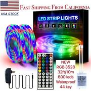 32ft Smd 3528 Rgb Led Strip Light Flexible Remote Fairy Lights Room Tv Party Bar