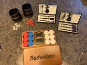 Budweiser Poker Chips In Custom Wooden Box W/used Cards,leather Dice Cups+ Darts