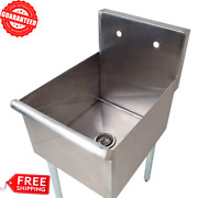 Commercial One Compartment 18 Stainless Steel Restaurant Kitchen Utility Sink