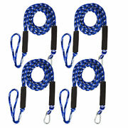 4 Pack Marine Bungee Dock Line Boat Mooring Rope Anchor Cord Stretch Blue White
