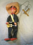 Rare Vintage Very Old Paper Mache Puppet From Mexico Good Strings And Condition